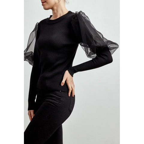 Organza Sleeve Ribbed Top in Black