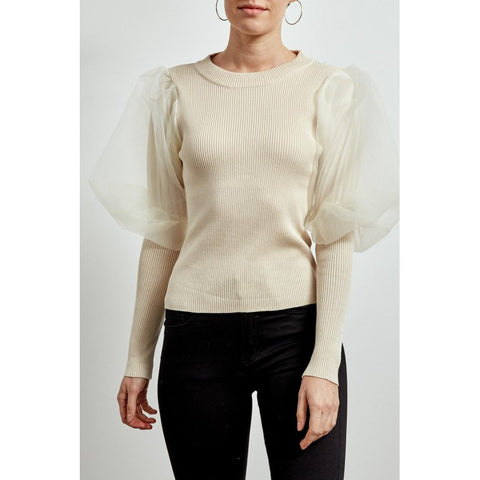 Organza Sleeve Ribbed Top in Biege