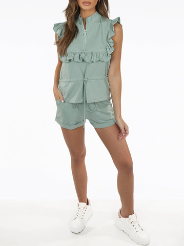 Frill Zip Short Set in Mint