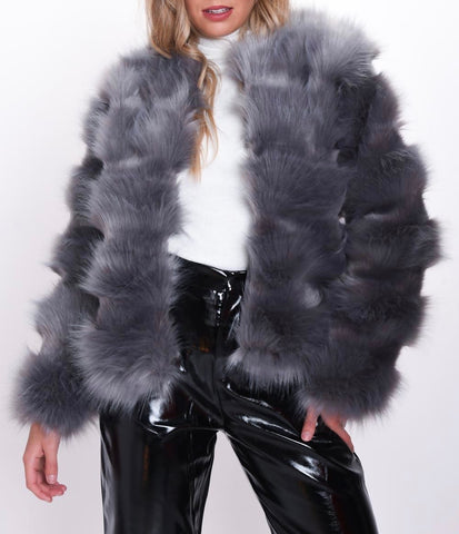 Faux Fur Shaggy Coat in Grey