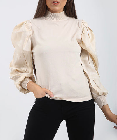 High Neck Puff Sleeve Top in Beige