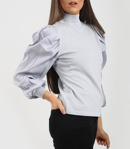 High Neck Puff Sleeve Top in Grey
