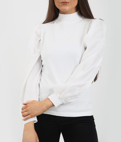 High Neck Puff Sleeve Top in White