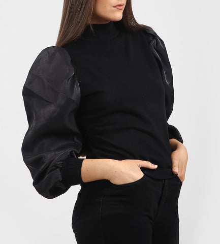 High Neck Puff Sleeve Top in Black