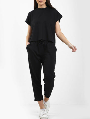 Boxy Tracksuit in Black