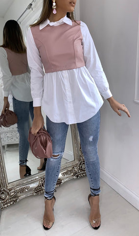 PU Leather Shirt Top in Pink