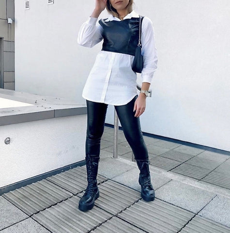 PU Leather Shirt Top in Black