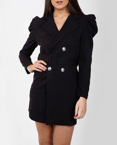 Belted Blazer Dress in Black