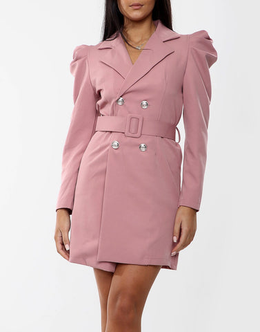 Belted Blazer Dress in Pink