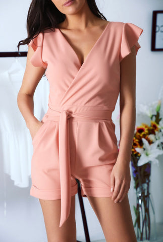 Belted Playsuit in Pink