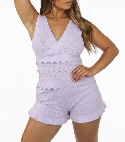 Frill Vest Short Set in Lilac