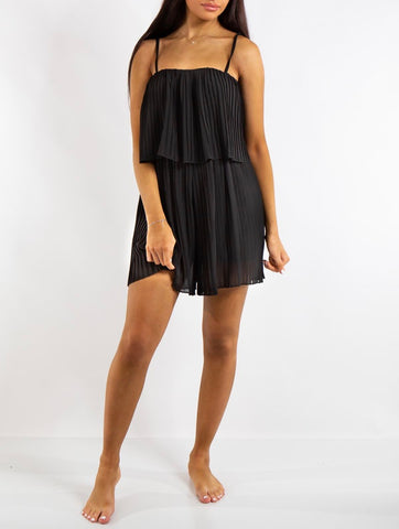 Pleated Cami Playsuit in Black