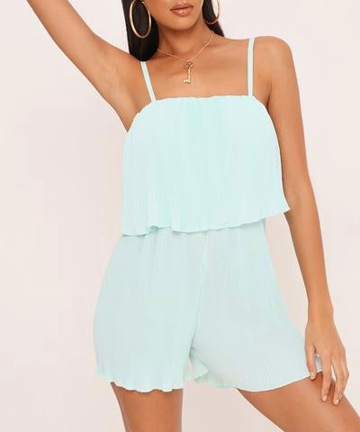 Pleated Cami Playsuit in Mint