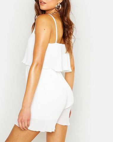 Pleated Cami Playsuit in Off White