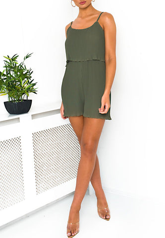 Pleated Cami Playsuit in Khaki