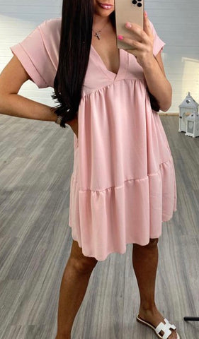 V Neck Smock Dress in Pink