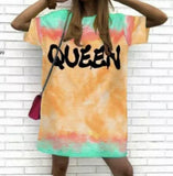 Queen Tie Dye T Dress in Orange
