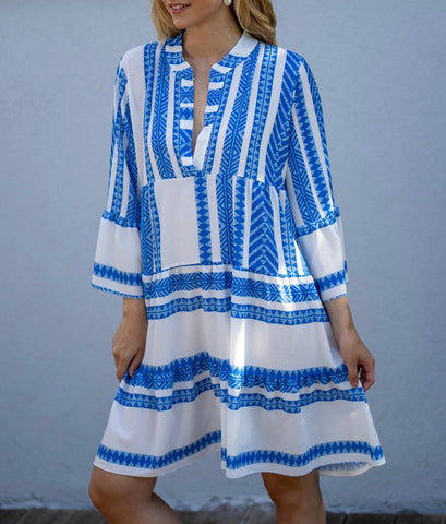 Aztec Print Smock Dress in Blue