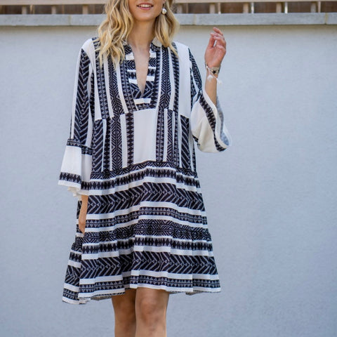Aztec Print Smock Dress in Black