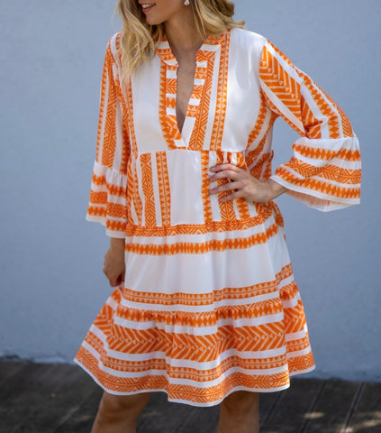 Aztec Print Smock Dress in Orange