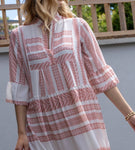 Aztec Print Smock Dress in Pink