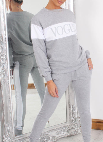 Vogue Stripe Tracksuit in Grey
