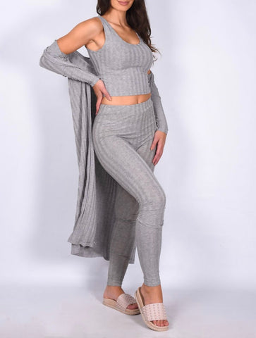 3 Piece Ribbed Set in Grey