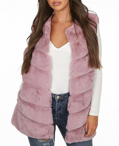 Layered Faux Fur Gilet in Pink