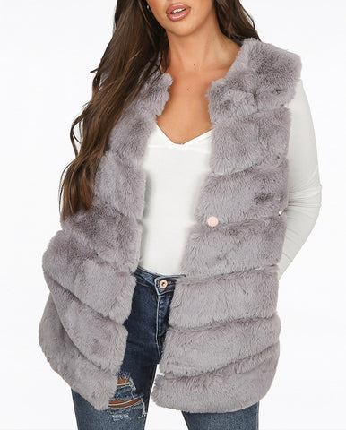 Layered Faux Fur Gilet in Grey
