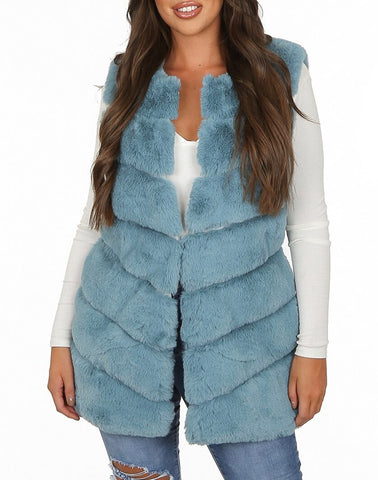 Layered Faux Fur Gilet in Blue