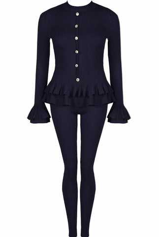 Peplum Button Lounge Set in Navy