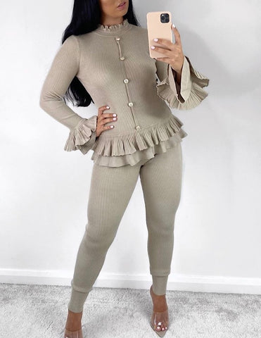 Peplum Button Lounge Set in Beige