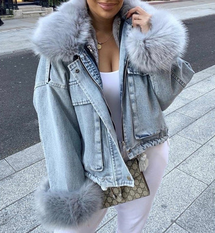 Hooded Denim Faux Fur Jacket in Grey