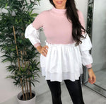 Roll Neck Knitted Shirt Top in Pink