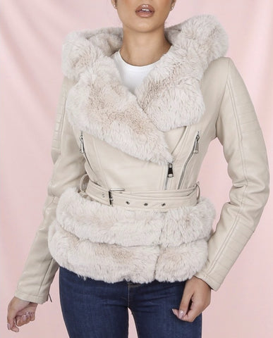 Faux Fur Biker Jacket in Beige/Beige