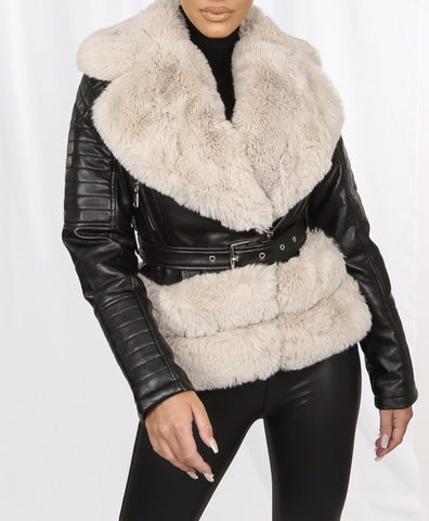 Faux Fur Biker Jacket in Black/Beige