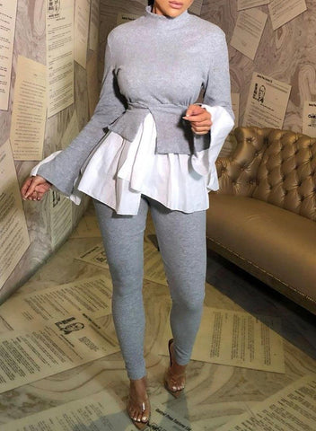 Shirt Hem Lounge Set in Grey