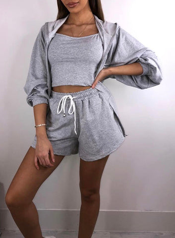 3 Piece Hoody Short Set in Grey