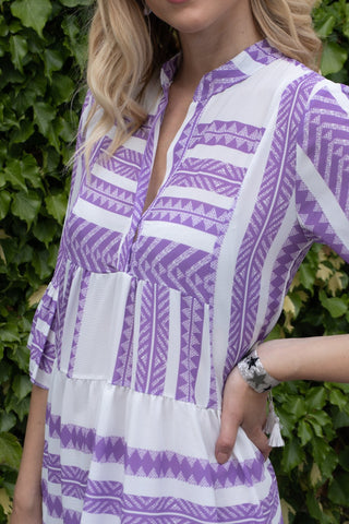 Aztec Print Smock Dress in Lilac