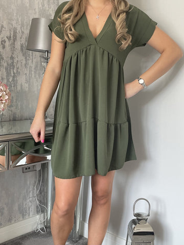 V Neck Smock Dress in Khaki