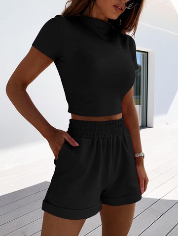High Neck Short Set in Black