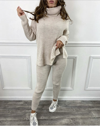 Chunky Ribbed Roll Neck Lounge Set in Beige