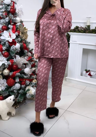 DD Designer Inspired Print Pyjama Set in Pink