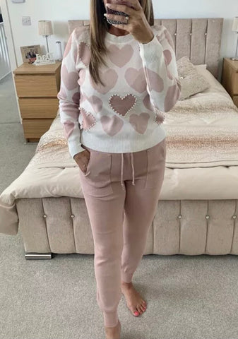 Love Heart Lounge Set in Pink