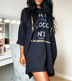 Chic Coco Slogan T Dress in Black