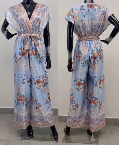 Printed Wide Leg Jumpsuit in Sky