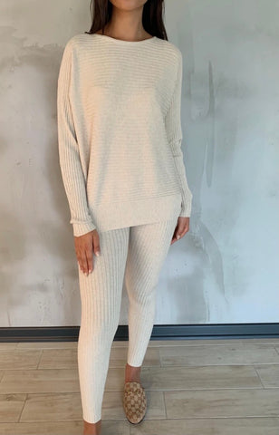 Ribbed Loungewear Set in Cream
