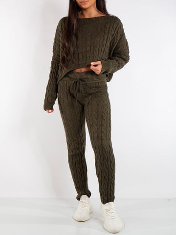 Cable Knit Lounge Set in Khaki
