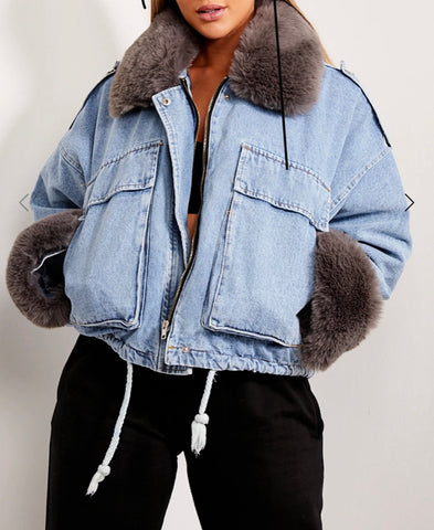 Denim Faux Fur Jacket in Light Grey