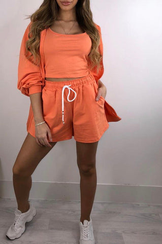 3 Piece Hoody Short Set in Orange